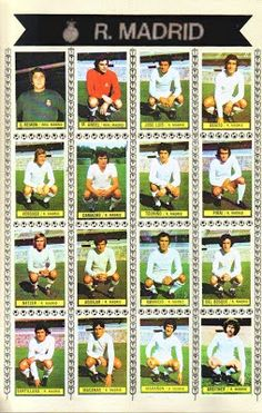 Juegos y Juguetes de Antaño: Álbum de la liga de Fútbol 1974/75 Real Madrid Team, At Madrid, Sport Hall, Retro Football, Zinedine Zidane, Nostalgia, Baseball Cards, Sports, Grande