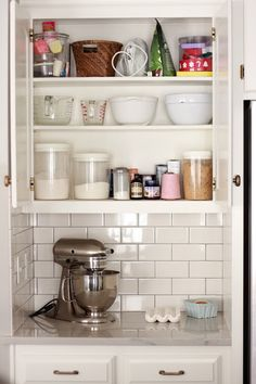 Baker's corner in kitchen: keep all pans, ingredients, appliances together to make baking more streamlined.
