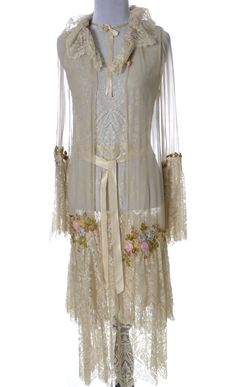 1920's lace silk and chiffon peignoir nightgown robe teddy. Designed by Universal costume designer Vera West. Front