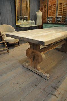 farm dining table | French Vintage Oak Trestle Farm Dining Table with Sculpted Trestle Bar ...