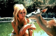 Bridget Bardot and fawn.