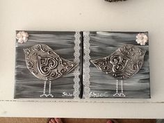 Pewter birds on canvas