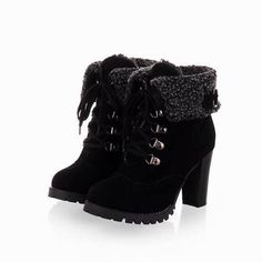 ASUMER 2016 new fashion thick high heels warm snow boots lace up fur inside women's ankle boots platform shoes woman - frolyz