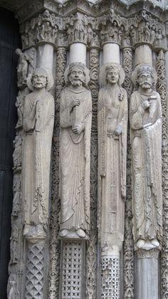 Jamb Statues At Chartres Cathedral | ... door jamb statues, south transept, Chartres Cathedral, 13th century