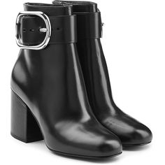 Alexander Wang Leather Ankle Boots (27.185 RUB) ❤ liked on Polyvore featuring shoes, boots, ankle booties, heels, ankle boots, black, leather bootie, black booties, black buckle booties and leather booties