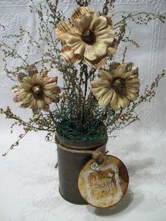 Primitive Country Spring Decoration Shelf Sitter Antique Tin Flower Arrangement   eBay