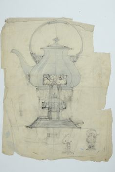 Gustav Gaudernack pencil and watercolor sketch. Coffeepot with heater and stand in silver with apple pattern. ca 1905. Tegning @ DigitaltMuseum.no