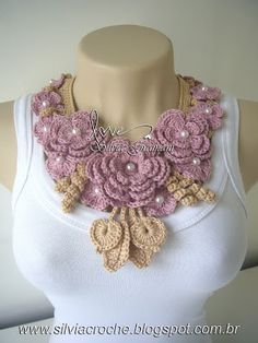 colar miss flor, colar de croche, colar com flores rosa, rosa, feminino, colar…