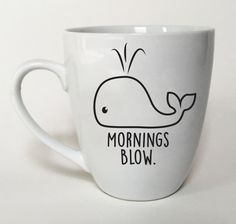 Whale Mug Mornings Blow Fun Gift Idea Office by TheSourPeach