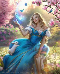 May in Garden by Selenada on DeviantArt Fantasy Art Women, Beautiful Fantasy Art, Beautiful Fairies, Fantasy Girl, Beautiful Artwork, Simply Beautiful, Disney Princess Art, Disney Art, Princess Zelda