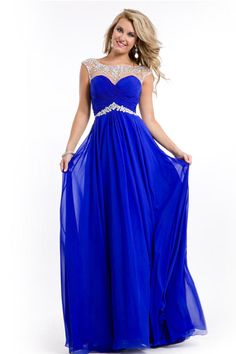 Super Beaded Neckline V Back Mesh Illusion Prom Dresses Sweep Train LDPBTTA79G - LovingDresses.com for mobile