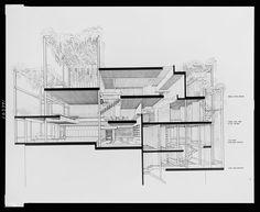 [Paul Rudolph's penthouse apartment, 23 Beekman Place, New York City. 1965, Cross section. Photograph]
