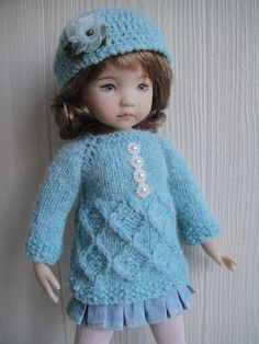 Handknitted tunic and hat for  LITTLE DARLING doll - 13 inches  (Dianna Effner)
