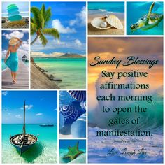 Sunday Morning Quotes, Sunday Wishes, Word Collage, Morning Greeting, Collages, Summer Diy, Positive Affirmations, Mood Boards, Ocean Views