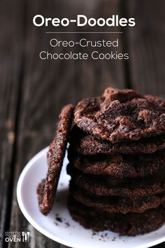 Oreo-Doodles-1 cup all-purpose flour*   1/2 cup unsweetened Dutch-processed cocoa powder (or regular unsweetened cocoa powder )*   1/2 tsp. baking soda *  1/2 tsp. salt *  4 ounces coarsely chopped dark or semisweet chocolate  * 1 cup semisweet chocolate chips *  1 stick (1/2 cup) unsalted butter*   1 1/2 cups sugar *  2 large eggs *  1 tsp. pure vanilla extract  * 12 Oreo cookies, finely-crumbled