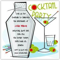Martini Party Supplies Invitations Template