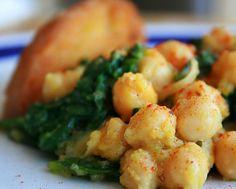 Salteado de garbanzos con espinacas y setas shiitake Pasta, Spanish Food, Mojito, Hummus, Food Inspiration, Carne, Shrimp, Nom Nom, Quiches