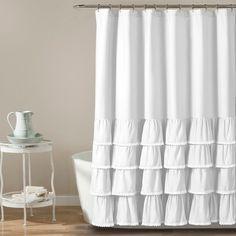 "72""x72"" Ella Ruffle Detailed Shower Curtain White - Lush Decor® : Target"
