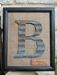 Framed Barn Tin Initial by WeldHouseWares on Etsy, $58.00