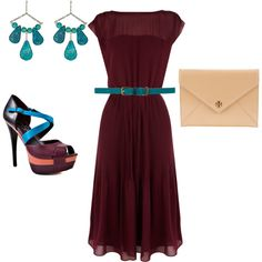 Plum and turquoise outfit. I especially love this dress!