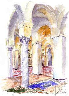 Mosquée Sidi Abou Marouane Annaba (Algérie) - Peinture,  20x30 cm ©2015 par Catherine Rossi -                            Architecture, Annaba, Algérie