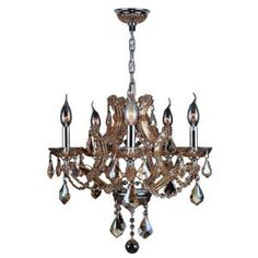 Worldwide Lighting Lyre Collection 5-Light Chrome with Amber Crystal Chandelier-W83116C19-AM at The Home Depot $453