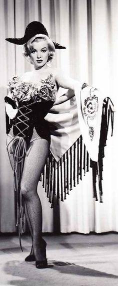 "Marilyn in a costume test for ""Gentlemen Prefer Blondes"", 1953."
