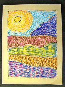 Van Gogh landscape - practicing his technique Artist Van Gogh, Van Gogh Art, Artist Art, Art Van, Van Gogh For Kids, Van Gogh Landscapes, 2nd Grade Art, Ecole Art, School Art Projects