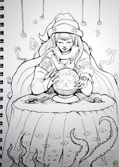 Inktober x 31 Witches Day 6 - Oracle Witch by SarahRichford on DeviantArt