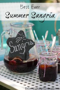 """wonder what makes this the """"Best Ever Summer Sangria Recipe"""" - will need to taste test it to find out. Summer Sangria, Refreshing Summer Drinks, Summer Cocktails, Cocktail Drinks, Alcoholic Drinks, Beverages, Summer Drink Recipes, Sangria Recipes, Cocktail Recipes"""
