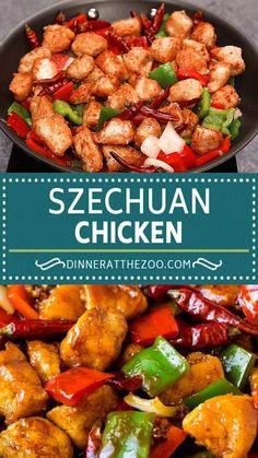 Szechuan Chicken, Chicken Stir Fry Sauce, Chicken Vegetable Stir Fry, Chicken And Vegetables, Kung Pao Chicken, Healthy Dinner Recipes, Vegetarian Recipes, Cooking Recipes, Chicken