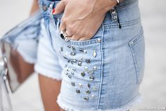 Stud trend fashion shorts denim. Whats your favorite type of shorts? Comment below..
