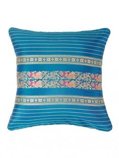 Turquoise - Golden Handwoven Baluchari Cushion Cover This exquisite silk cushion cover is a handwoven Baluchari textile from Bengal with elaborate depictions of mythological scenes, specially the Ramayana and Mahabharata.