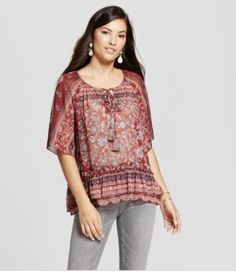 3086720b0adab NEW Knox Rose Women s Sheer Print Peasant Top Mulled Wine Size  X Small