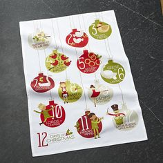 Shop Days of Christmas Dish Towel.  The countdown is on with our 2017 12 Days of Christmas dish towel.   Illustrating the popular Christmas carol, the dish towel counts down the days with a whimsical ornament motif.