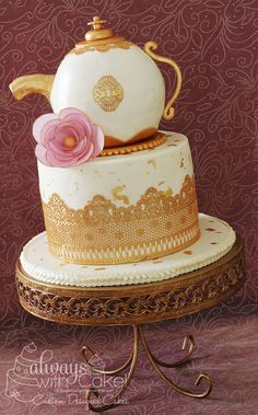The theme was a tea party with a very specific teacup and saucer. I used edible cake lace, gold leafing and wafer paper flowers on both cakes. Fondant Cakes, Cupcake Cakes, Cupcakes, Tea Cakes, Beautiful Cakes, Amazing Cakes, Teapot Cake, Classic Cake, Rustic Cake