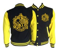 Vintage style Harry potter Inspired Hufflepuff House varsity jacket with gold emblem in front and back.  Amazing! by iganiDesign on Etsy