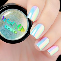 Aurora Pigment Now you can create white chrome nails using this amazing nail product! Apply over different colors to see different effects! This is hands down magical unicorn powder, it gives you so many different varieties of manicure! Simple Nail Designs, Nail Art Designs, Nails Design, Salon Design, White Chrome Nails, Crome Nails, Nagel Hacks, Mirror Nails, Unicorn Nails
