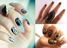 motivos-tribales Cool Nail Designs, Fun Nails, Class Ring, Nail Art, Beauty, Diy, Enamels, Beleza, Latest Trends