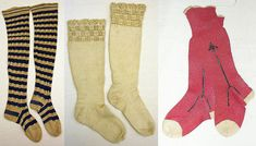 Stockings and socks from the mid 1800's, made of linen, wool, and silk with cotton, from the Metropolitan Museum of Art.