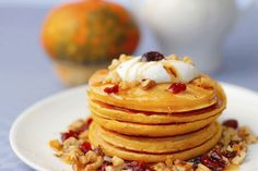 Buckwheat Pumpkin Pancakes with Fresh Coconut Whipped Cream: This fiber-filled breakfast will keep you going throughout your day.