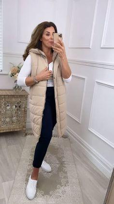 Beige summer jacket, beige gilet, women's puffer jacket, longline jacket, hooded jacket, gilet Long A Line, Beige, Seasons, Style, Swag, Seasons Of The Year, Ash Beige, Outfits