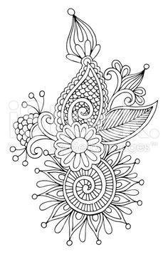 black line art ornate flower design, ukrainian ethnic style, aut royalty-free stock vector art
