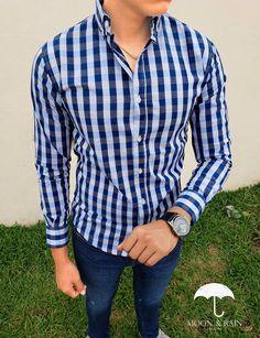 Camisa slim fit para hombre de cuadros azules   negros de manga larga | Hecho en México por Moon & Rain y Tiendas Platino.