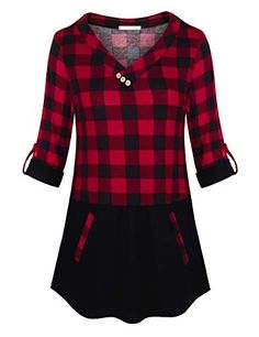 a2b570209f45 Extra Off Coupon So Cheap Messic Womens Rolled Sleeve Plaid Shirts Color  Block Tunic Tops with Pockets