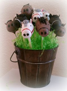 Chocolate cake pops in the shape of horse heads.  Used candy melts for the manes and hand painted the reins on. TFL!