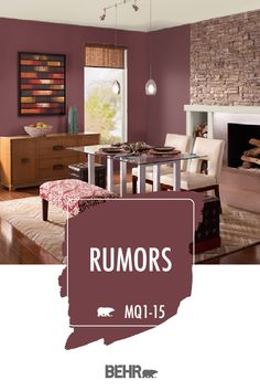 Rumor has it that you ve been searching for the perfect paint colour for your next DIY home makeov Rumor has it that you ve been searching for the perfect paint colour for your next DIY home makeov BEHR Paint nbsp hellip makeover Western Paint Colors, Red Paint Colors, Behr Colors, Bedroom Paint Colors, Paint Colors For Home, Stain Colors, Western Rooms, Dining Room Paint, Behr Paint