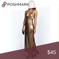 Gold Maxi Dress Gold Maxi Dress. Plunging V-Necj. Side slits. Dresses Maxi