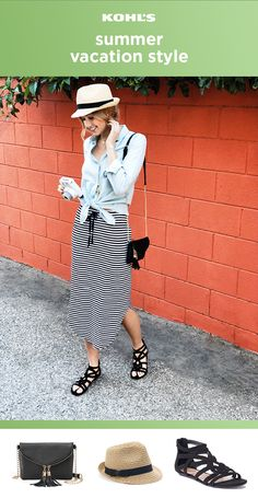 Whether you're heading out of town or prepping for a low-key staycation, this outfit is ready for anything. Top a striped midi skirt with a chambray shirt and tie up the hem. (You can always tie the shirt around your waist for a cute layered look if it gets too hot out.) Finish the outfit with a fedora, tassel crossbody bag and strappy sandals. Update your style at Kohl's with trendy skirts, hats and shoes. #summerstyle #ootd