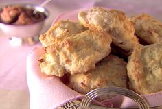 Pancetta Biscuits  - Another Giada de Laurentiis recipe. I forego the cinnamon butter, and just butter the tops and sprinkle with brown sugar after they come out of the oven (my husband's idea). They're to die for! I challenge you to eat just six.